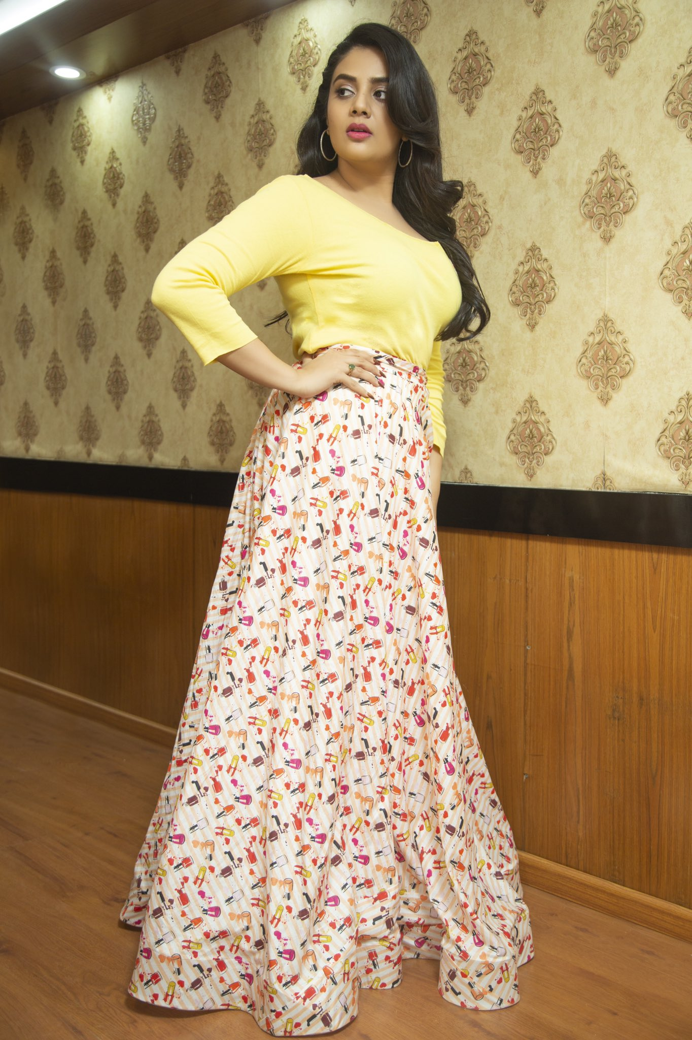 Sreemukhi Yellow Dress Latest Gallerys