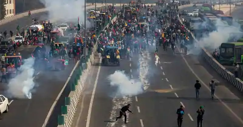 Who is the reason behind the ongoing farmers protests turning violent?