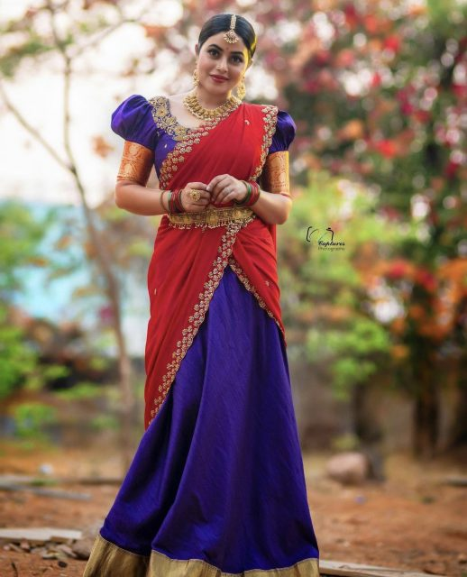 Poorna Red Half Saree Photos
