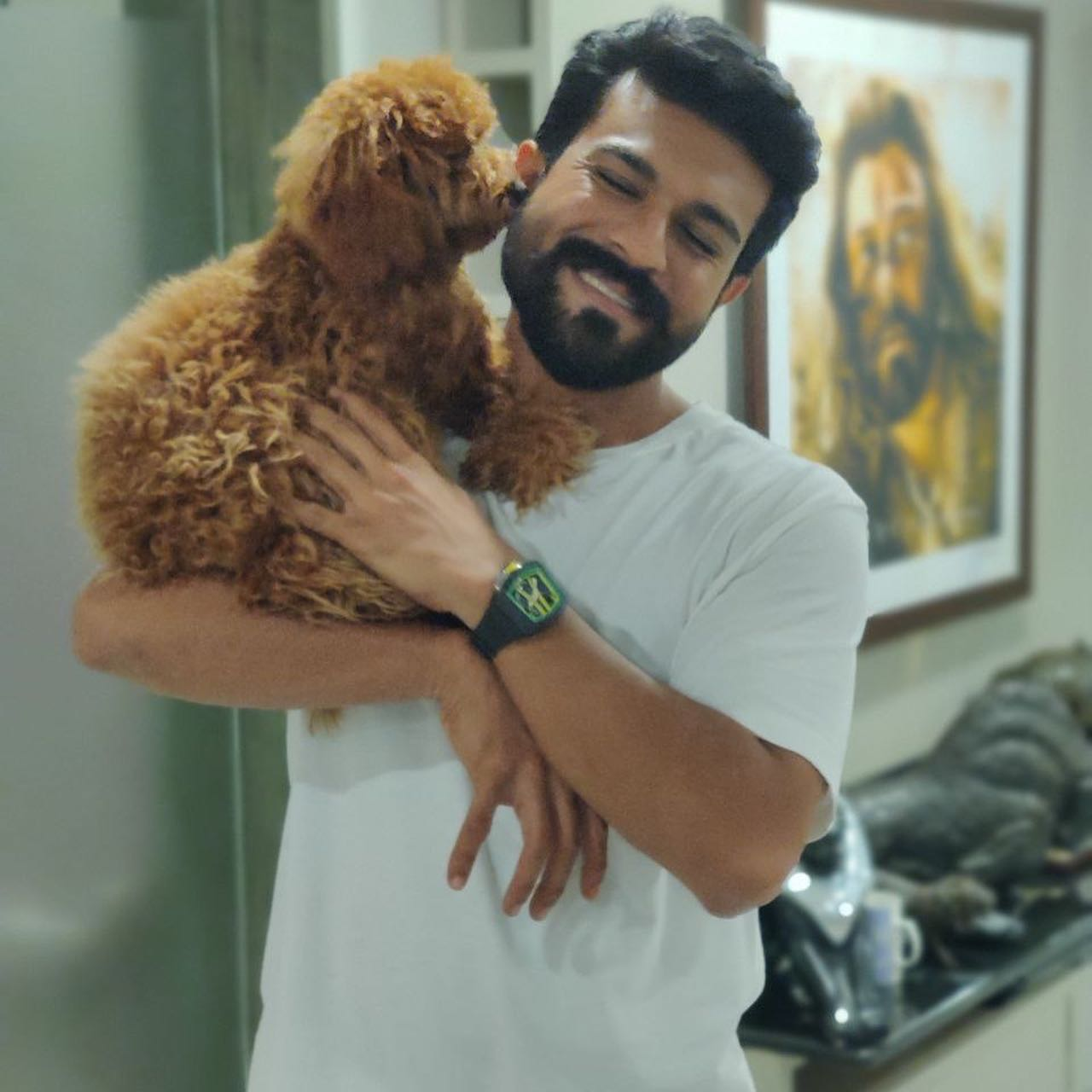 Ram Charan Latest Poses with His Puppy 'Rhyme'