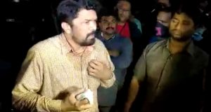 Unknown People attack with Stones on Posani Krishna Murali House
